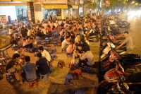 Drink tea on the streets in Hanoi